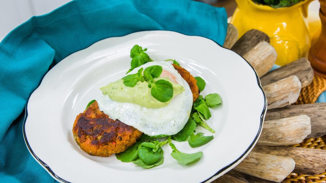 Dad's Salmon Croquettes with Over-Easy Eggs and Avocado Dressing