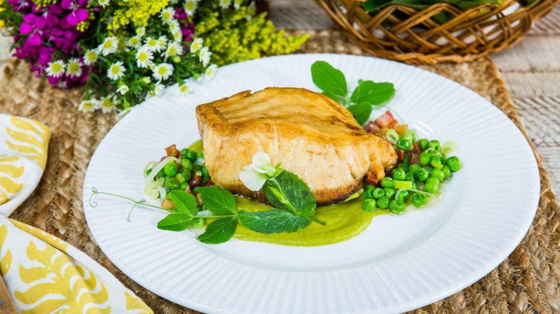 David Rose - Pan Roasted Sea Bass With English Pea and Pancetta Sauté and Pea Purée