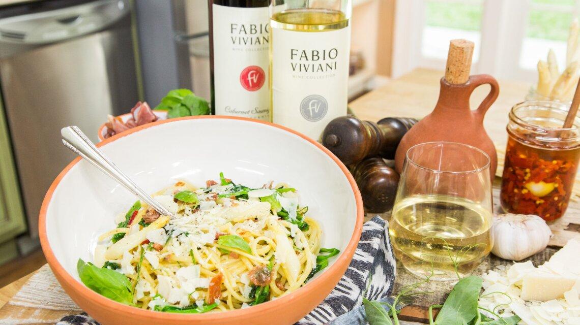 Linguini with Pea Tendrils, Pancetta, Prosciutto and White Asparagus.