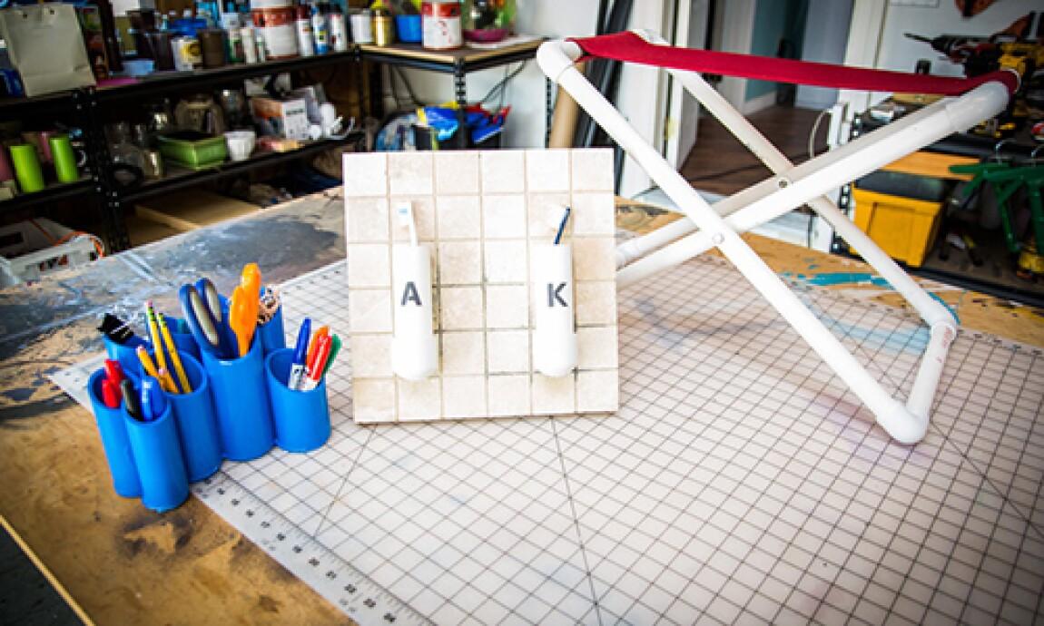 Mark's DIY PVC Pipes PVC Pipe Desk Caddy