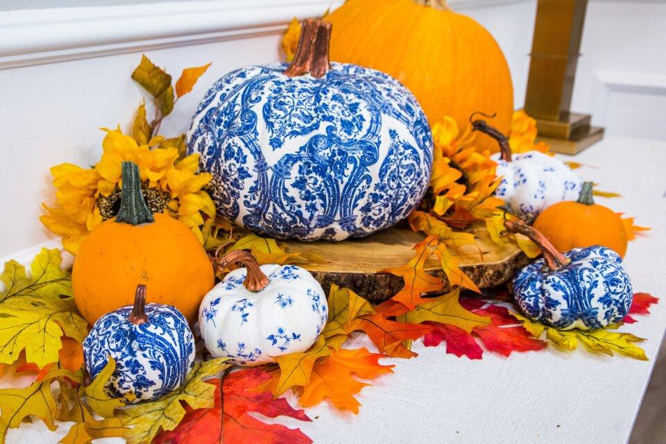 DIY Faux Porcelain Pumpkins