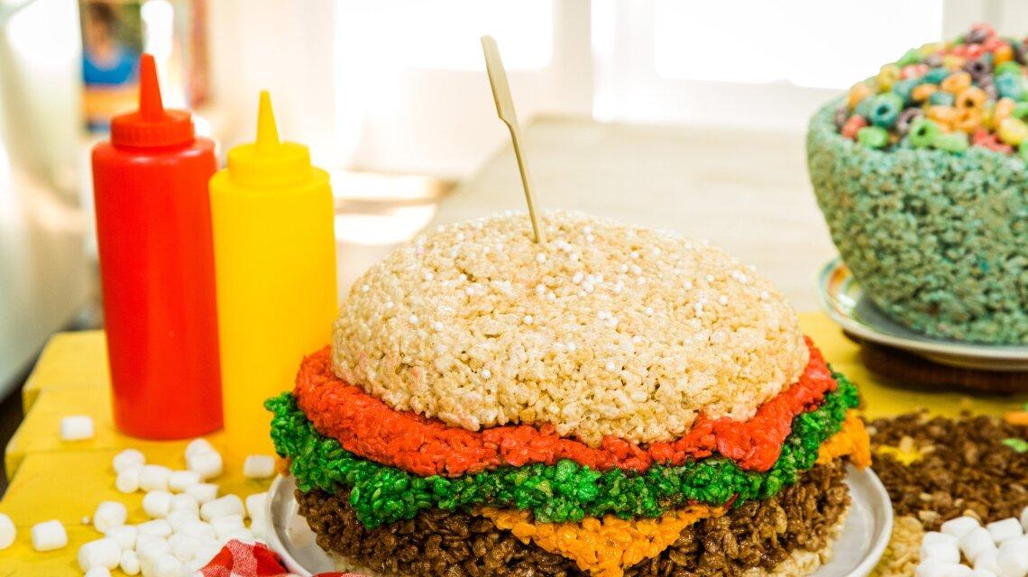 Crispy Rice Treat Cheeseburger
