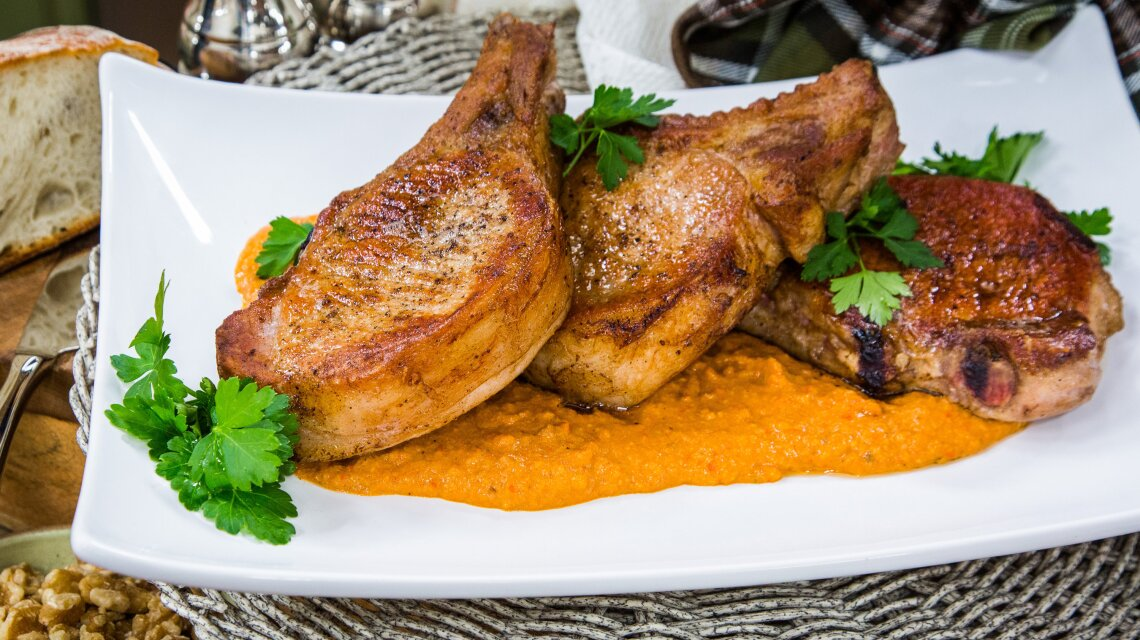 Browned Butter Pork Chops with Walnut Romesco Sauce