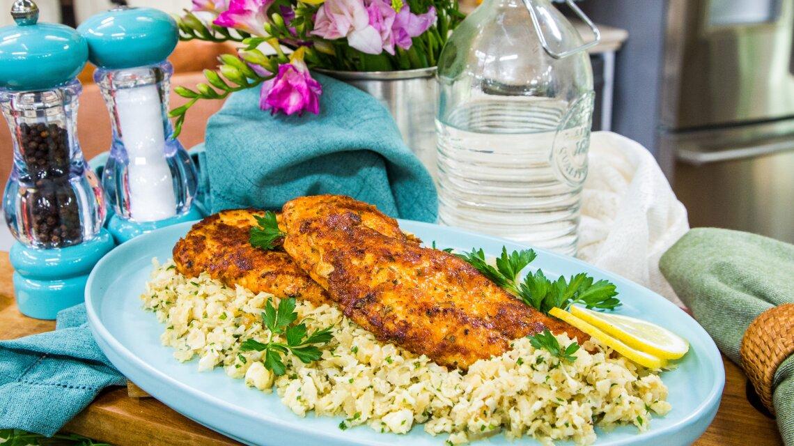 Garlic Butter Chicken with Parmesan Cauliflower Rice
