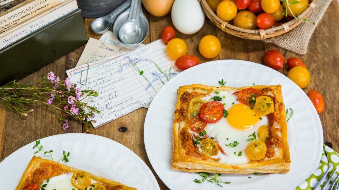 Tomato, Egg, Prosciutto Tarts