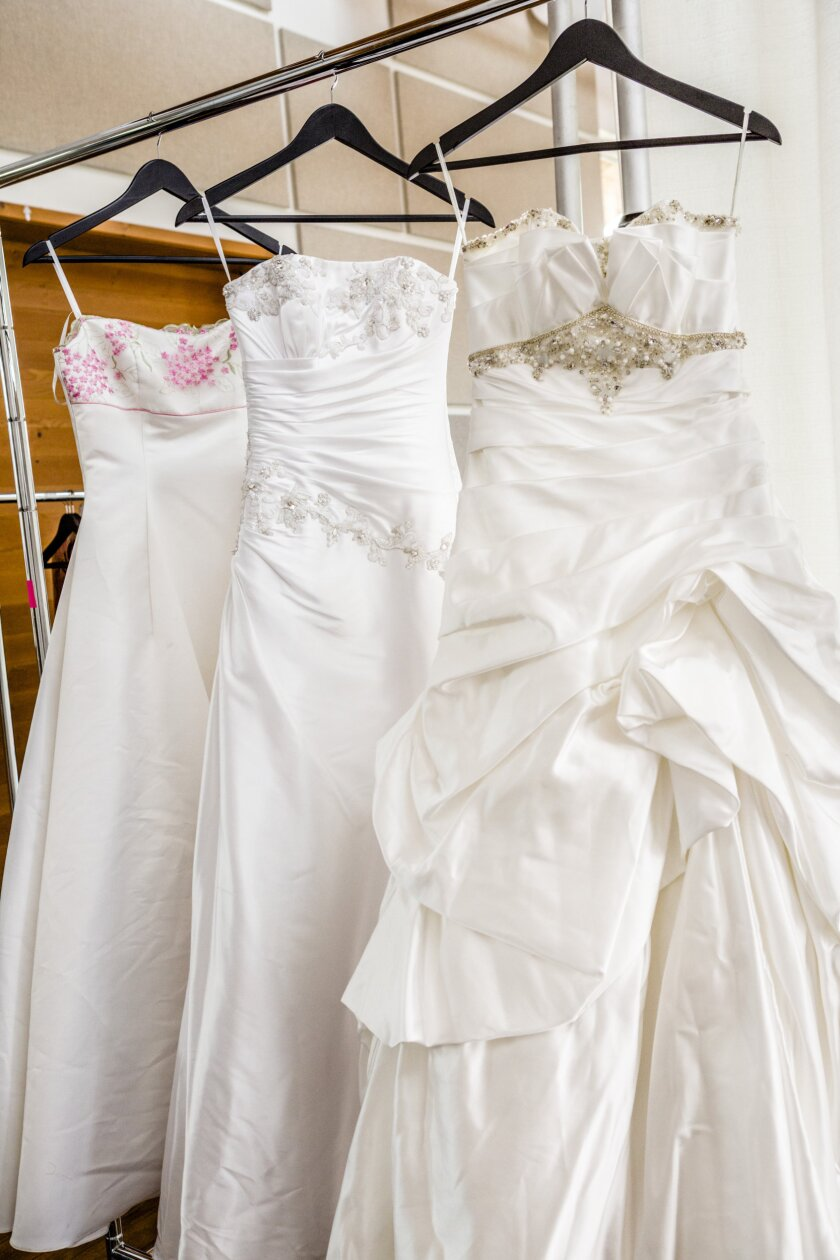 "In ""A Perfect Match"" Danica McKellar helps her client to find the perfect wedding gown. Suggestions included these beautiful dresses pictured above."