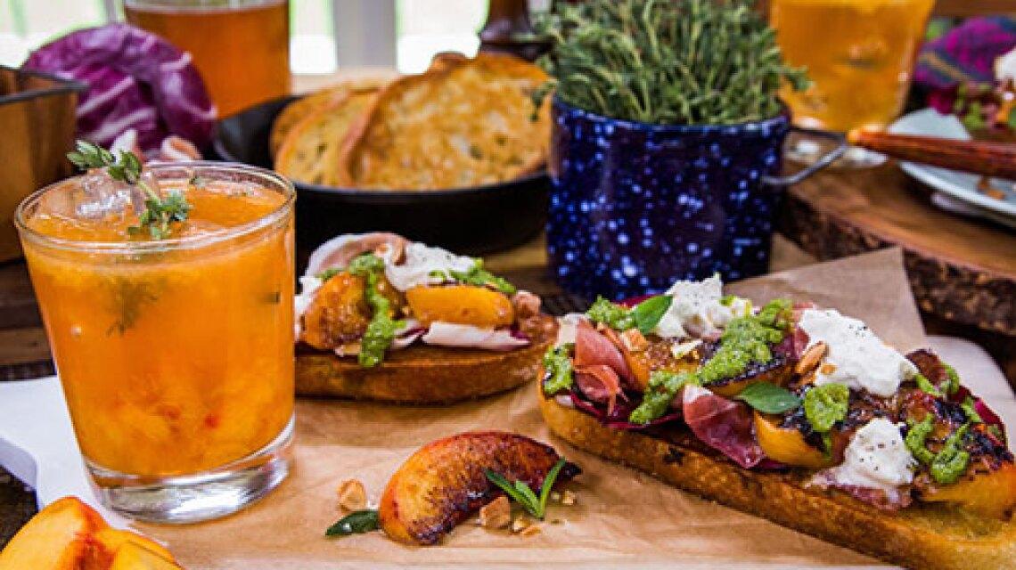 Cristina Cooks: Knife and Fork Grilled Peach and Burrata Sandwich with a Minted Arugula Pesto