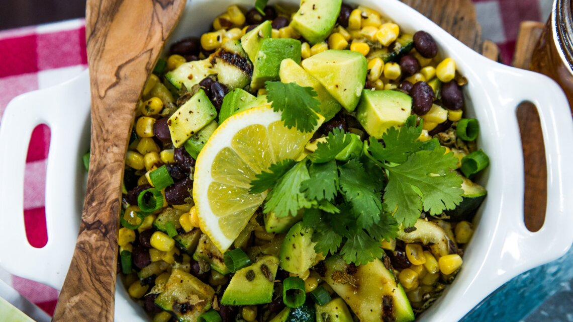 Grilled Zucchini, Black Bean and Avocado Salad