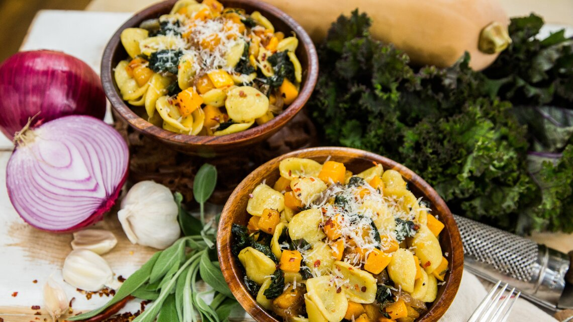 Orecchiette with Roasted Butternut Squash, Kale and Caramelized Red Onions