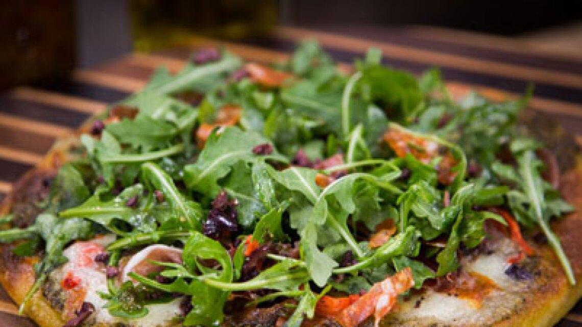 Cristina's Antipasto Pizza and Arugula Salad