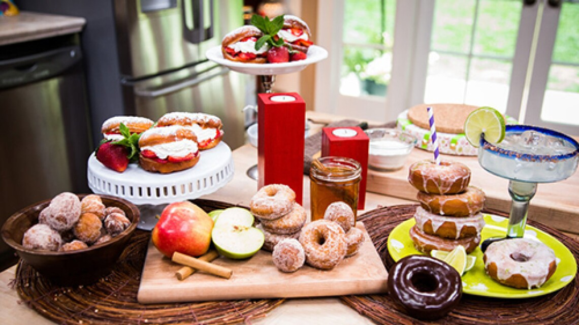 "Strawberry and Cream Doughnuts from ""World of Doughnuts"" by Stephanie Rosenbaum"