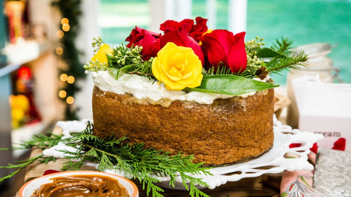 Sourdough Tres Leche Cake with Whipped Cream and Flower Crown