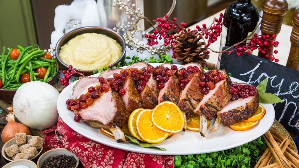 Prime Rib of Pork with Chipotle Cranberry Sauce