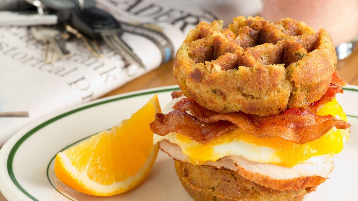 Leftover Turkey and Stuffing Breakfast Waffle Sandwich